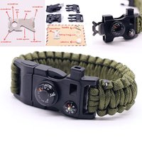 Wholesale Emergency Compass - 15 in 1 Multifuctional Outdoor Survival Bracelets For Men Parachute Rope Flint Whistle Compass Thermometer Travel Emergency Kits