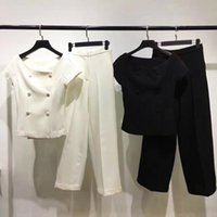 Wholesale Sexy Black Pant Suits - New arrival Spring  Summer Office Lady sexy Slash Neck blouse + wide leg pants Dor-brand Women's fashion suit black and white