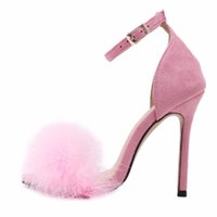 Wholesale woman shoes bridal flat - Burgundy Women High Heel Stiletto Spring Autumn Real Fur Feather Hairy Sandals Pumps Bridesmaid Bridal Wedding Shoes