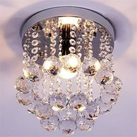 Wholesale Small Led Ceiling Light Fixtures - Mini Crystal Chandelier Light Fixture Small Clear Amber K9 Crystal Lustre Lamp Ceiling lamp for Aisle Stair Hallway corridor porch 110V 220V