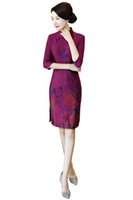 Wholesale Qipao Fabric - Shanghai Story Purple 3 4 Sleeve Suede Fabric Knee Length Qipao Dress vintage butterfly Print chinese cheongsam Oriental dress