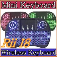Wholesale Red Optical Mouse - 50X Rii I8 Mini Keyboard Wireless Backlight RED Green Blue Light Air Mouse Remote With Touchpad Handheld For T95 M8S S905X S905 TV BOX A-FS