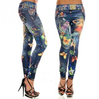 Wholesale Women Printed Leggings - 2017 Fashion Sexy Women Leggings Buttlefly Flower Printed Imitation Jeans Elastic Slim Punk Style Faux Denim Pencil Pants