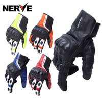 Wholesale Women S White Leather Gloves - Wholesale- NERVE Waterproof Real Genuine Leather Carbon Fiber Motorcycle Glove Motocross Racing Men Women Moto Protection Full Finger Gants