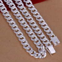 Wholesale 24 Solid Gold Chains - Men's 24'' 60cm 10mm silver necklace 115g solid snake chain n011 gift pouches