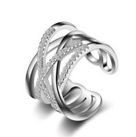 ingrosso piccole pietre di pavimentazione-Anello in argento Micro Pave Small Stones Multilayer in oro rosa bianco coreano gioielli giapponesi anelli per le donne
