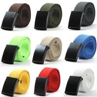 Wholesale Boys Waistband - Unisex Waist Belt Mens Boys Plain Webbing Waistband Casual Canvas Belt 10 Colors