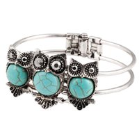 Wholesale Owl Silver Cuff Bracelet - wholesale 2017 new Tibetan Silver Crystal Turquoise Owl Bracelet Bangle Turquoise Cuff Bracelet Jewelry for Women Wholesale