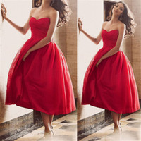 Wholesale Hot Red Evening Dresses - Vestidos de Festa 2017 Stunning Red Ball Gown Prom Dresses Tea-Length Sleeveless Tulle Evening Dresses Party Gowns Hot