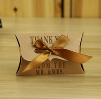 Wholesale Christmas Candy Gift Boxes - Kraft Paper Pillow Square Candy Box Rustic Wedding Favors Candy Holder Bags Wedding Party Gift Boxes with ribbon 100pcs lot