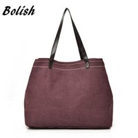 Wholesale Larger Ladies Linens - Bolish European Leisure Women Handbag Simple Canvas Tote Bag Ladies Larger Multi Compartment Shopping Bag