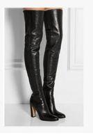 botas altas hasta el muslo negras al por mayor-2017 mujeres de la moda sobre la rodilla botas altas poin toe botines de cuero negro talón grueso muslo alto botines de glaciator vestido