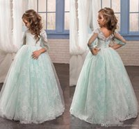Wholesale Mint Color Long Sleeve Dresses - Light Mint Princess Flower Girl Dresses Lace Applique Sheer Sleeves Ball Gown Floor Length Children Party Communion Dresses Custom Made