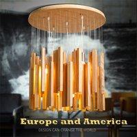 Wholesale Modern Wood Lighting Chandeliers - original wood meteor shower led droplight chandeliers creative design art contracted solid wood pendant lamps sitting room light 85-265v