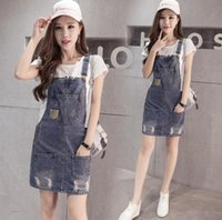 Wholesale Overall Denim Dress - 2017 New Fashion Women's Jeans Overalls Dress Lady's Denim Suspender Skirt Casual Slim Causal Dresses