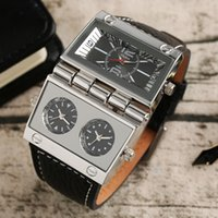 Wholesale Oulm Quartz - OULM Large Watch for Men Rectangle Radio Style Gig Dial Unique Quartz Wristwatch Male Clock Stylish Military relogio masculino