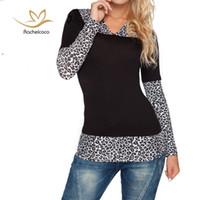 Wholesale Shirt Korean Leopard - Wholesale- Rachelcoco 2016 New Autumn Fashion Women Tees Korean Style Long Sleeve V Neck Hoodie Leopard Patchwork T Shirt Women