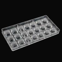 molde plástico de chocolate al por mayor-Venta directa de policarbonato molde de chocolate Diy Square forma de chocolate moldes de plástico de policarbonato herramientas de cocina moldes