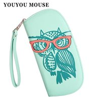 Wholesale Black Korean Style Glasses - Wallets Purse Cute Owl Glasses Hit Color Printing Korean Rounded Zipper Long Women Wallet New Ladies' Clutch Card & Id Holders
