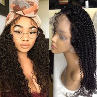 Afro Kinky Curly Lace Front Perruques Malaisie Virgin Human Hair Glueless Full Perruques avec Bleached Knots Baby Hair for Black Women