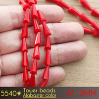 Jóias de moda 6x12mm Tower Beads Alabaster color A5540 50pcs / set contas de vidro baratos para o candelabro