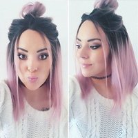 Wholesale Sexy Pink Wigs - Hot Sexy Glueless Synthetic Lace Front Wigs Ombre Pink Short Bob Straight Synthetic Wigs for Black Women Heat Resistant