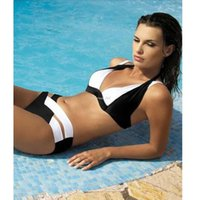 Wholesale Women Wearing Sexy Black Nylons - 2017 New Sexy Bikinis Women Swimsuit Summer Beach Wear Bikini Set Push Up Swimwear Bandage Bathing Suit Black And White XL