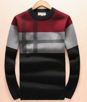 Wholesale Thin Wool Coat - Active 2017 Men Fashion Winter Coat Long Sleeve Brit Sweater Men's Jacket Casual Sweater London Men Plaid Sweaters 3XL
