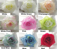 Wholesale Satin Flowers Head - 50pc High Quality Spiring Color Silk flower Head Rose wholesale White Rose flower Heads 4.2inch Artifical Satin rose heads for Wedding Wall