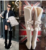 New Arrival Hot Sale Specials Afluxo Sweet Girl Sexy Suede Spike Retro Suede Bow Ball Belt Tall Canister Stovepipe Knee Boots EU34-43