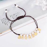 ingrosso braccialetti di lettera intrecciati-Moda Panda stile Ciondoli in oro MAMA Lettera Perle perline Donna Gioielli femminili Macrame intrecciare braccialetto regalo pulsera mujer osos