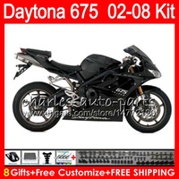 Wholesale Triumph Daytona675 - 8 Gifts 23 Colors For Triumph Daytona 675 02 03 04 05 06 07 08 Daytona675 black 4HM29 Daytona 675 2002 2003 2004 2005 2006 2007 2008 Fairing
