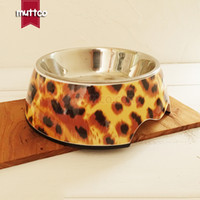 Wholesale Small Ceramic Bowls Wholesale - high quality detachable dual antiskid Stainless steel leopard water dog bowl DB-004