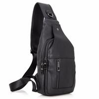 Wholesale Leather Sling Pillow - 100% Real Cow Leather Men Chest Bags Black Sling Bag For Boy's Back packs Popular Satchels Shoulder Messenger Bag Handbags 4004