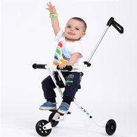 Wholesale Three Wheel Baby Stroller - Wholesale- 2017 New M-cro Style Baby Three-Wheeled trolley Children's Folding Portable Carts Ultra-light Aluminum Kids Bike Stroller