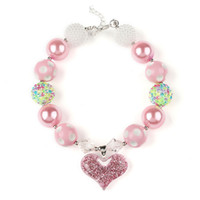 PrettyBaby Europe Valentine Chunky Collier enfants rose Coeur Pendentif Chunky Bubblegum Collier Fille Bijoux Bricolage Beads Choker Collier