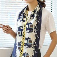 Wholesale Scarves Korea - The Korea Women Silk Scarf New Long Scarf Female All-Match Printing Double Floral Scarves Wholesale Manufacturers