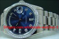 montres de plongée perpétuelles achat en gros de-Mens Blue Dial Diamond Day Date 2 Montre Perpetual Hommes Robe Président Dive Watches Automatic