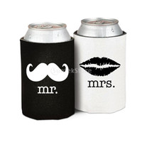 Wholesale Wholesale Heart Tin Cans - Wholesale-Hot Neoprene Beer Tin Can Cooler Sleeve Holder Wedding Party Favor Gifts mr mrs Mustache Lip   mr mrs with Heart