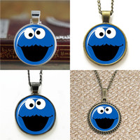 Wholesale Cookie Glass - 10pcs Cookie monster Glass Photo Necklace keyring bookmark cufflink earring bracelet