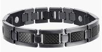 Wholesale Fiber Link - Men's Bracelet Carbon Fiber Magnetic Health Care Bracelets Bangle Stainless Steel Men Jewelry