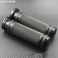 Wholesale Motorcycle Hand - Handlebar Hand Grip All Black CNC Aluminum For Harley Sportster Dyna Fatboy Night Train XL XR Motorcycle