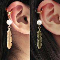 Wholesale Earings Punk Style - Trendy Pop Punk Style Pearl Beads Leaves Earrings For Women Earings Bones Steampunk Earring Cuff Boucle D'oreille Femme