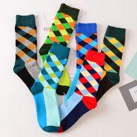 Wholesale Wholesale Rainbow Socks - New British Style Socks Men's Cotton long stockings High Quality Rainbow Fashion Funny Happy Diamond Lattice boys sock