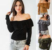 Wholesale Shits Long Sleeve Woman - 2017 Women Velvet Off Shoulder T Shirt Women Long Sleeve Ruffles Tops Slash Neck Polyester Long Sleeve Women Velour T-shit Blouse 4 color