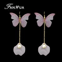 Bohemian Style Butterfly Earrings Gold-Color Long Chain Com Simulated-pearl Geometric Charm Drop Earrings For Women
