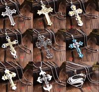 Wholesale Cross Necklaces Black Rope - Hot Fashion Unisex's Men Black Silver Stainless Steel Cross Pendant Necklace Chain Any Style