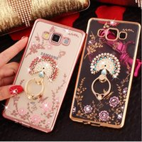 Wholesale Chinese Finger Rings - For Samsung Galaxy J3 J5 J7 A3 A5 A7 A8 A9 J730 J530 J330 Phone Case Finger Ring Buckle Rhinestone Soft Transparent TPU Protect Phone Cover
