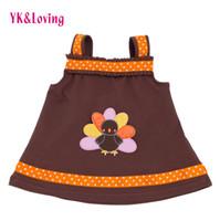 Wholesale Brown Summer Infant Girl Dress - Baby Girl Brown Dress Thanksgiving Clothes Infant Dresses Baby Outfits Tutu Skirt Children Kids Clothing Sleeveless Infant Sundress Girls