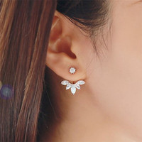 Wholesale Statement Stud Earrings - Korean Gold and Silver Plated Leave Crystal Stud Earrings Fashion Statement Jewelry Earrings for Women free shipping